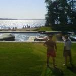 backyard at balsam lake cottage rental