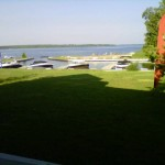 backyard of balsam lake cottage rental