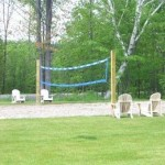 beach volleyball court at balsam lake cottage rental